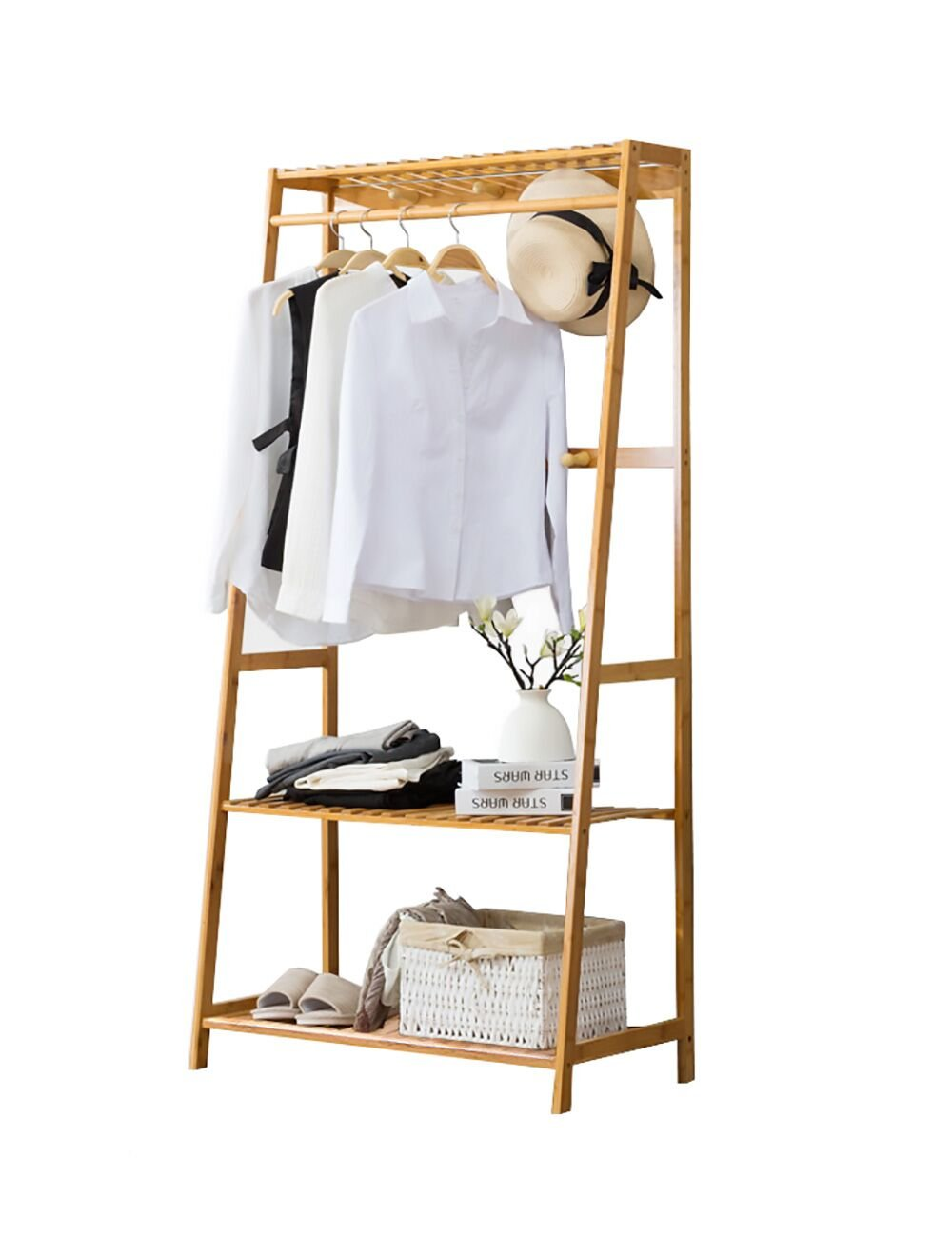 Ufine Garment Rack Bamboo Wood Entryway Clothes Drying Rack Plant Ladder 3 Tier Shoe Storage Shelves Organizer 6 Coat Hooks 1 Clothing Hanger Heavy Duty Wardrobe Closet in Livingroom Bedroom Hallway