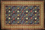 Sunflower Print Tapestry Cotton Spread 102'' x 70'' Twin Black