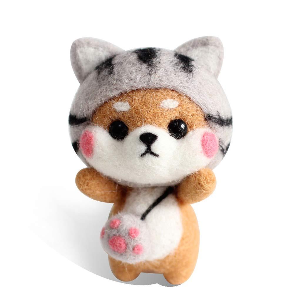 Hacloser Wool Felting Kit Tool Supplies, Cat Doll, DIY Handmade Craft Needle Felting Material Bag