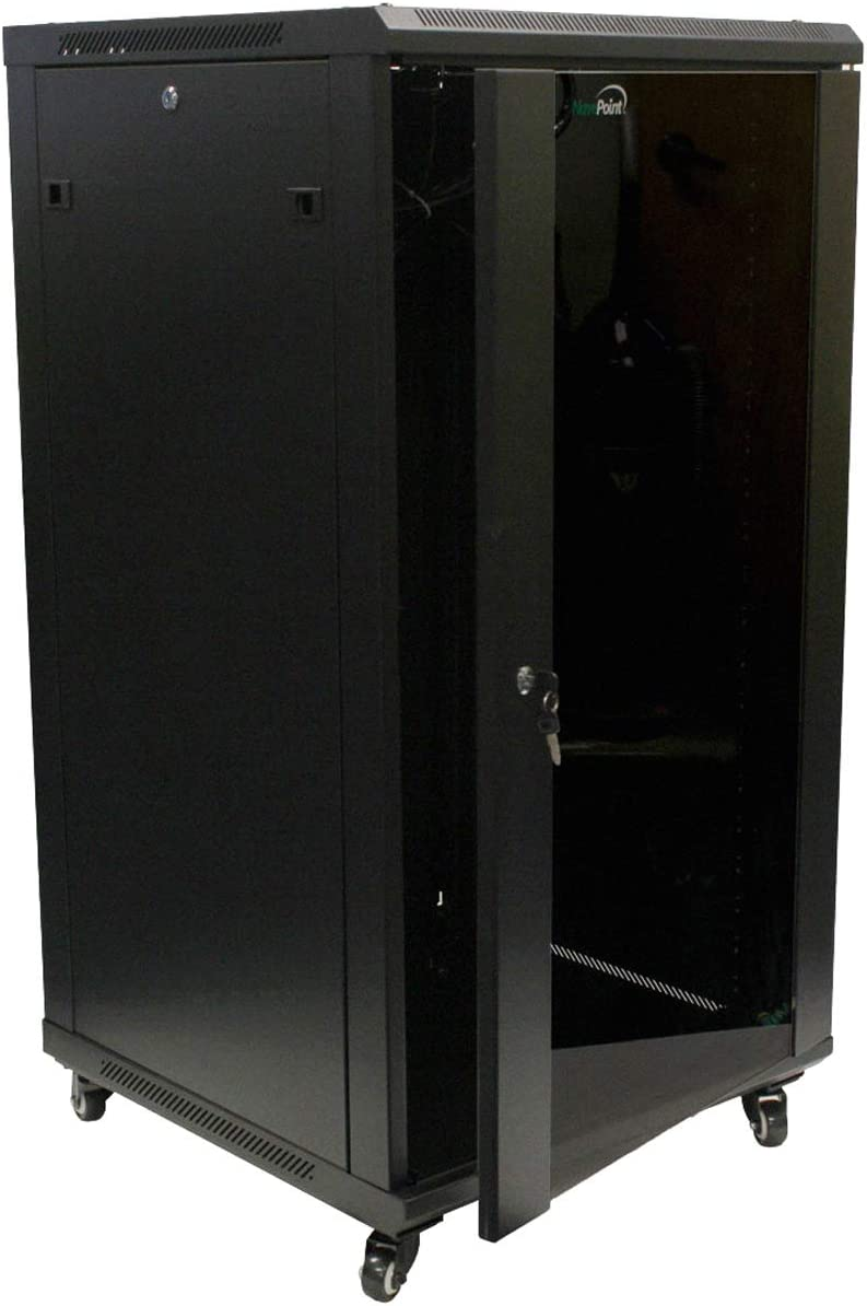 NavePoint 22U IT Wall Mount Network Server Data Cabinet Rack Glass Door Locking Casters