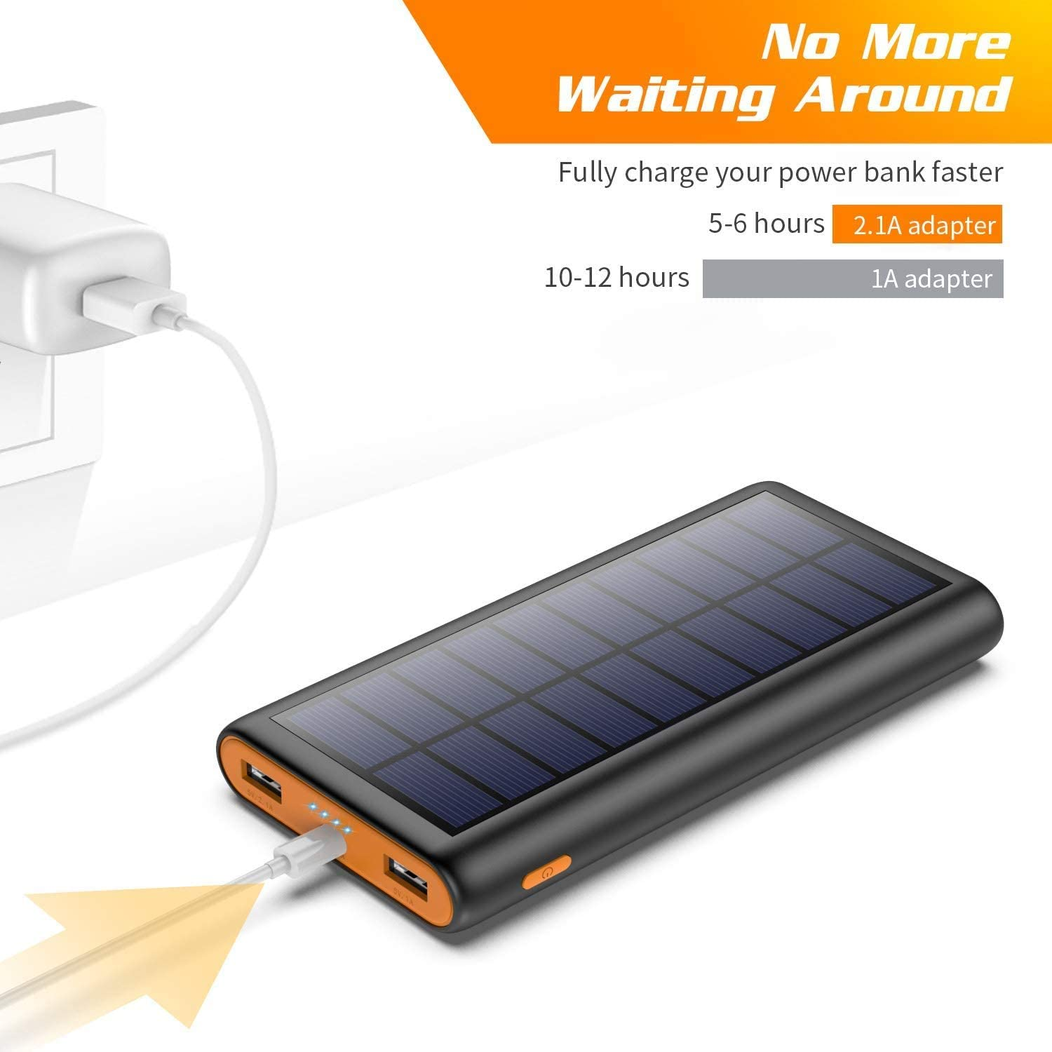 2020 Newest Design 2 USB Output Fast Phone Portable Charger Cell Phone Solar Battery Bank Pack External Backup Pack for iPhone iPad Tablet Samsung Galaxy Android Solar Charger Power Bank 26800mah