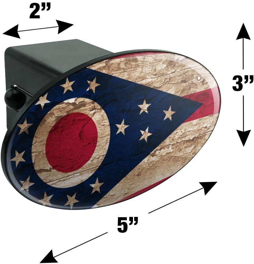 Graphics and More Rustic Distressed Ohio State Flag Oval Tow Trailer Hitch Cover Plug Insert