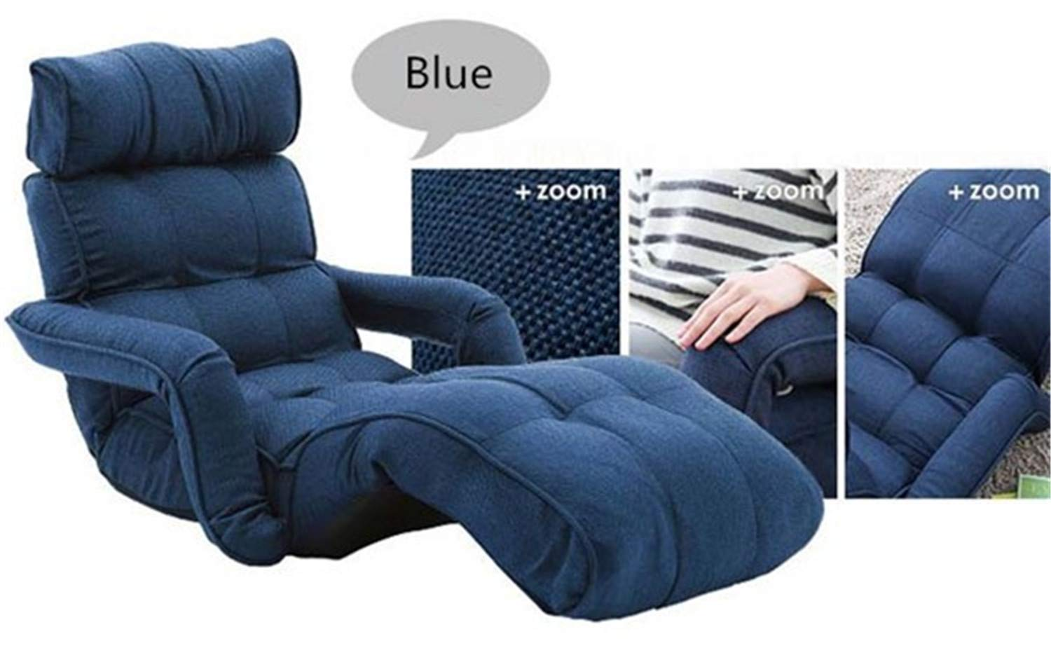 ZZSF Modern Folding Chaise Lounge Lazy Sofa Japanese Style Foldable Single Sofa Bed 6 Colors Living Room Furniture Lounge Chair Daybed Blue by ZZSF