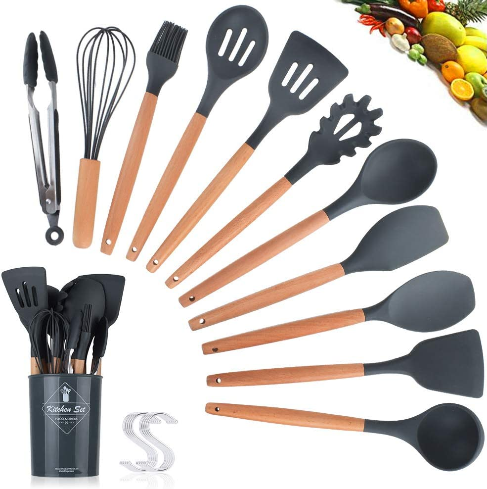 11pcs Wooden Handle Silicone Nonstick Cooking Shovel Spoon Kitchen Tools