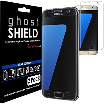 TECHGEAR [2 Pack] Screen Protectors to fit Samsung Galaxy S7 Edge  [ghostSHIELD Edition] Genuine Reinforced Flexible TPU Screen Protector  Guard Covers