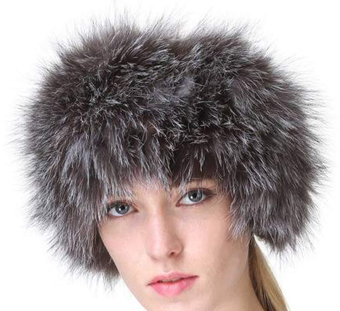 Vogueearth Women'Real Fox Fur Winter Headband Neck Warmer Scarf Black A662AH-Black