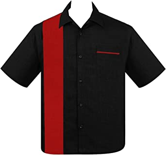 Steady Pop Check Single Panel Button Up in Black Red Bowling Shirt