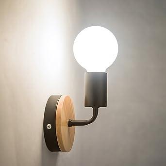 oygroup loft lampe murale noire simplicity e27 led applique murale en fer et en bois pour - Applique Murale Design Bois