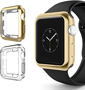 Alritz for Apple Watch 3 Bumper 42mm 38mm, Soft TPU Protective Case Cover for Apple Watch Series 1 Series 2 Series 3 Nike+ Sport Edition (Gold/Clear, 38mm)
