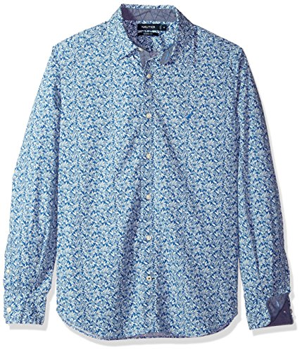 Nautica Classic Fit Stretch Printed Long Sleeve Button Down Shirt
