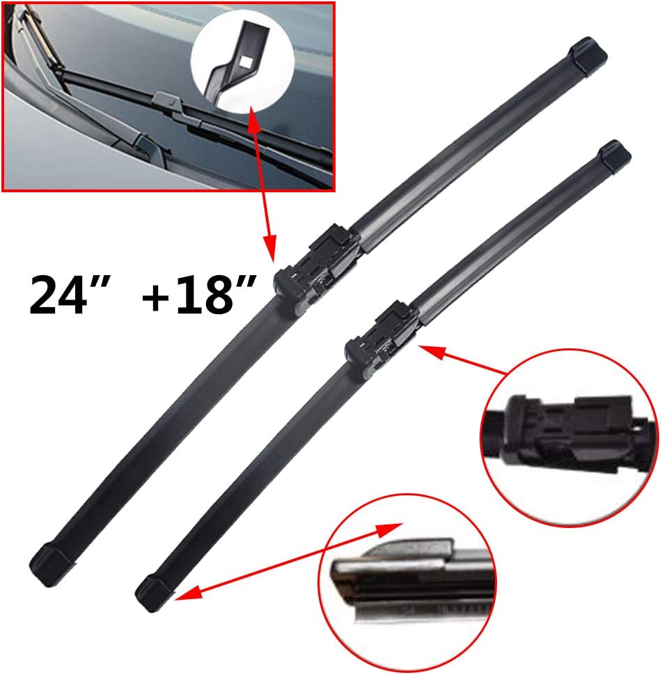 Carado Quality All Season Beam Windshield Wiper Blades for Alfa Romeo Giulietta 2010 2011 2012 2013 2014 2015 2016 2017  Front Window Wiper 2 PCS Black