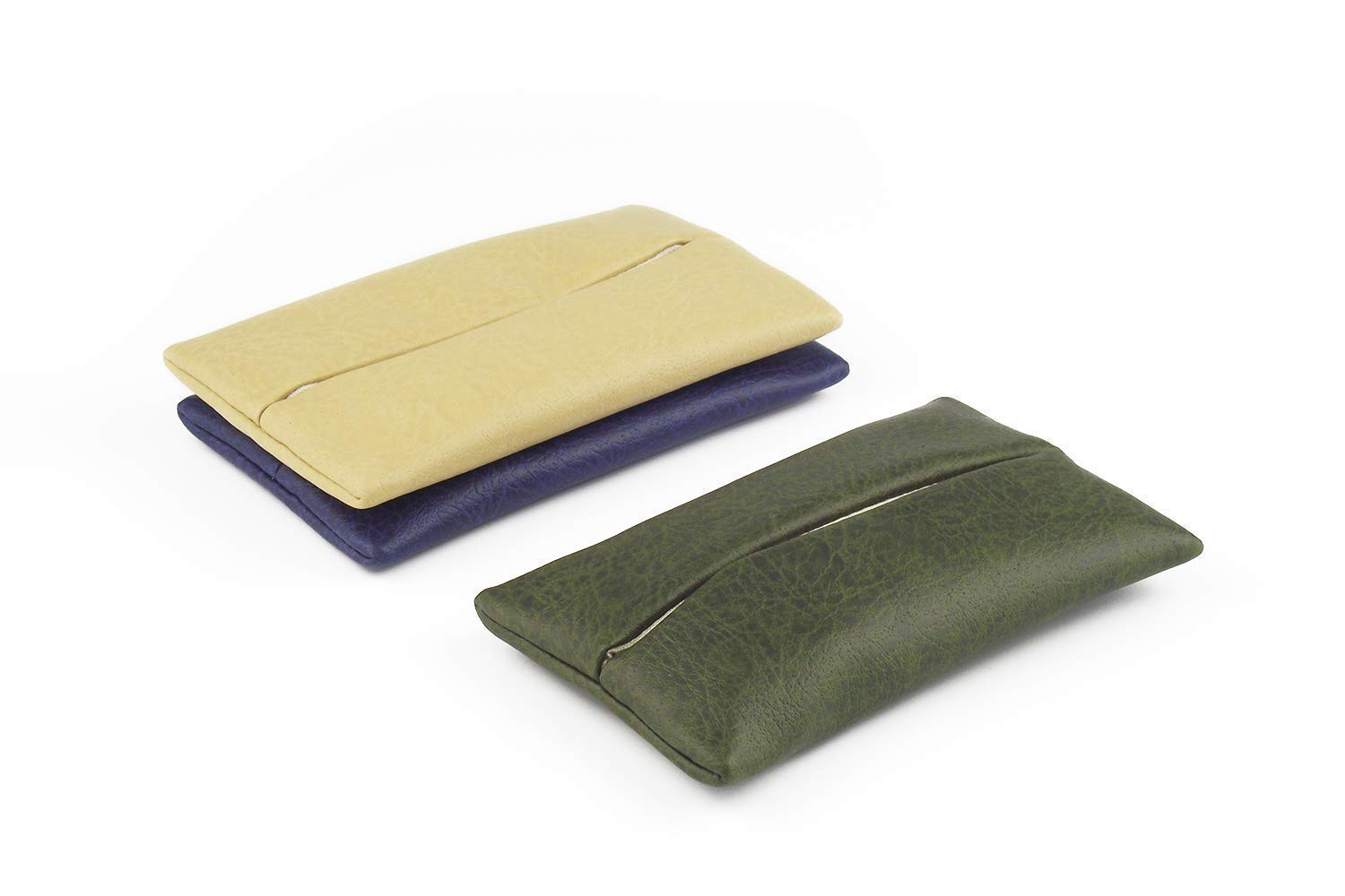「Thing.Is」PU Leather Pocket Tissue Cover, Travel Tissue Holder for Purse, Portable Tissue Case, Tissue Pouch, Begie/Army Green/Dark Blue