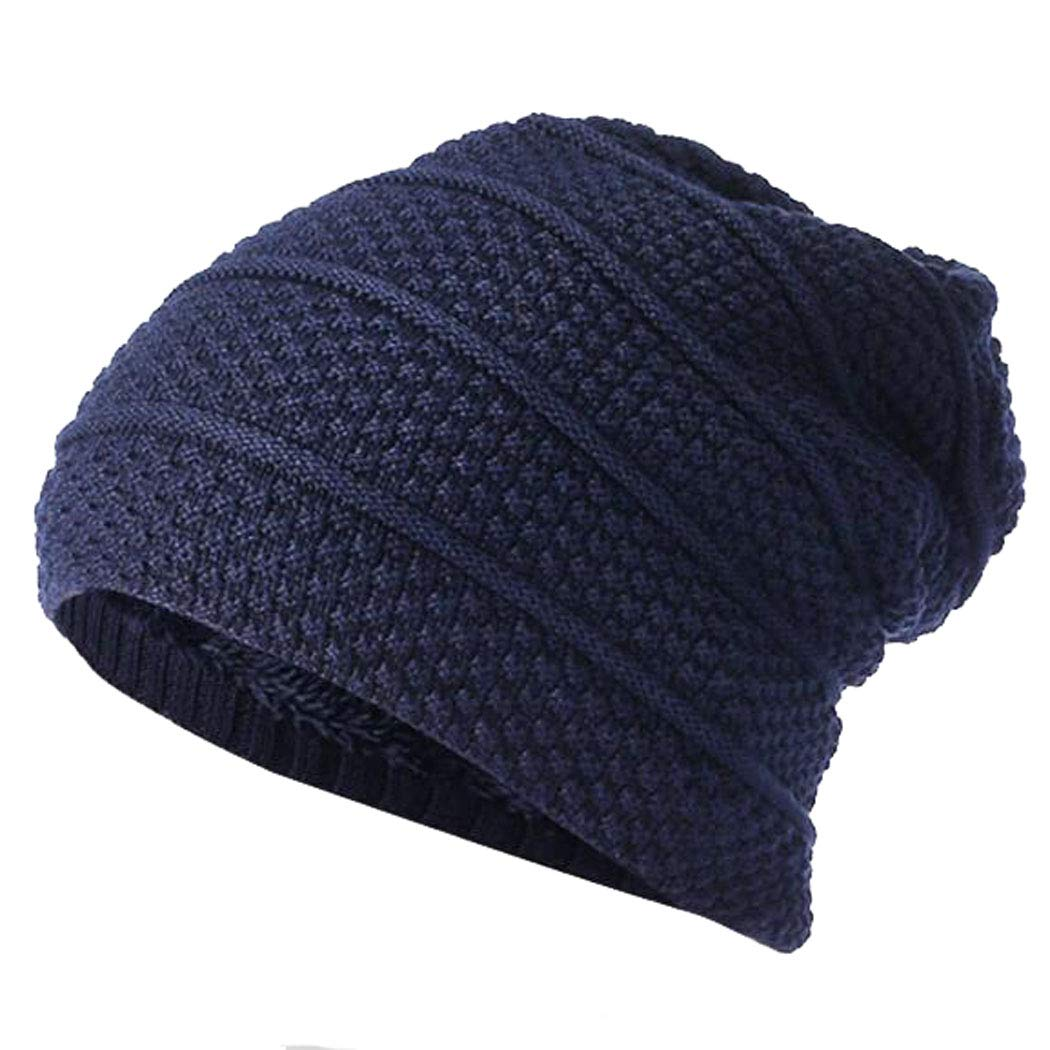 Hibelief Men Hats Beanies Skullies Caps Knitted Winter Fleece Lined Slouch Hats