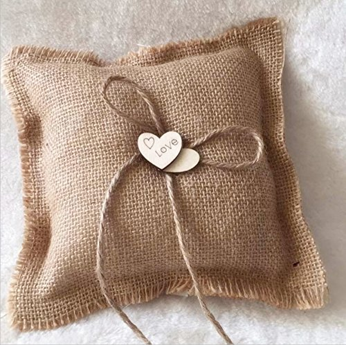 Dollbling Rustic Vintage Retro Wood Love Heart Burlap Wedding Flower Girl Basket + Ring Pillow +Guest Book + Pen Holder Set by Dollbling (Image #3)