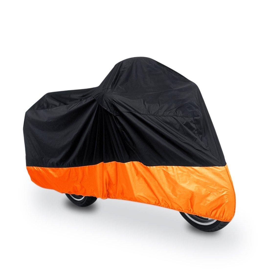 Universal Waterproof Dust Sun proof Indoor Outdoor Motorcycle Motorbike Cover for Harley Davison, Honda, Suzuki, Yamaha, Kawazaki Etc, Package Bag Include (XL, Black/Orange)