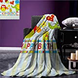 Kids Birthday throw blanket Patchwork Design with Owls Birds Hearts and Boxes Party Theme Artistic Print miracle blanket Multicolor size:60''x80''