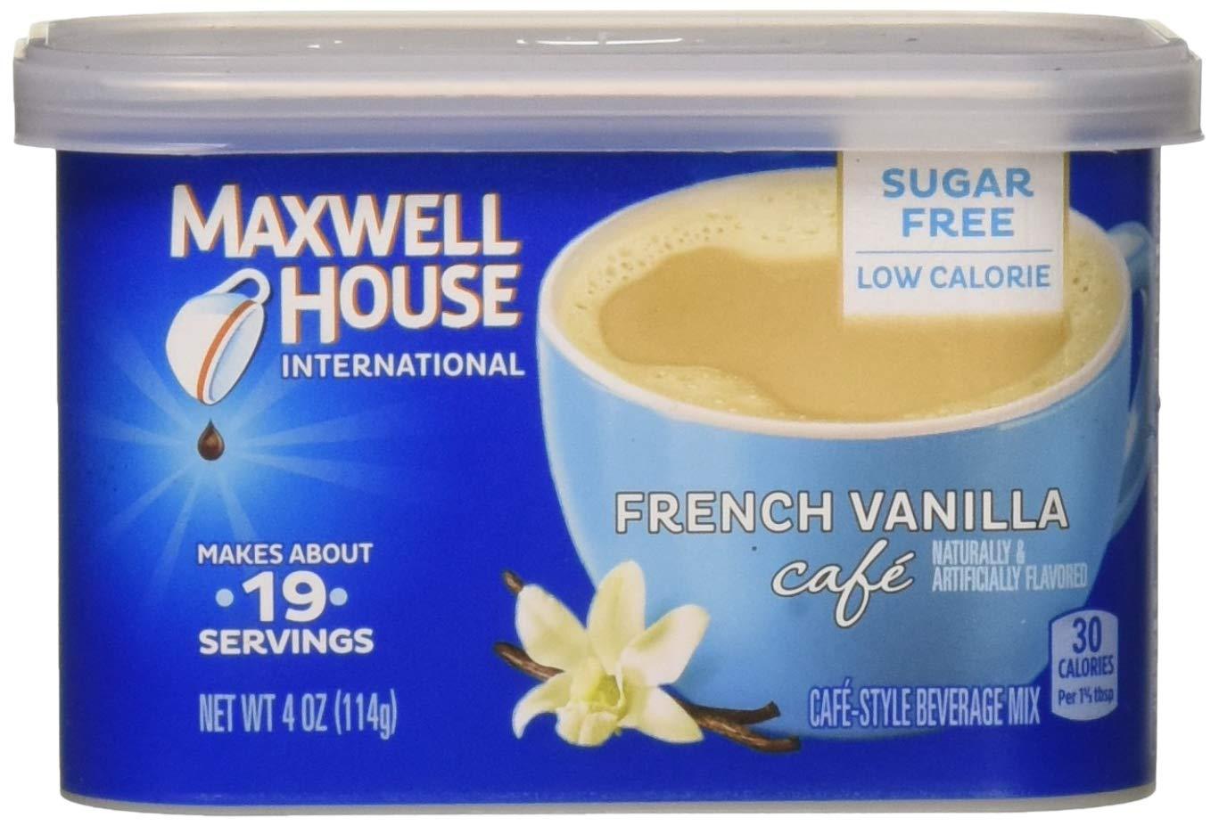 Maxwell House International Cafe Cafe-Style Beverage Mix, Sugar Free, French Vanilla Cafe, 4 oz