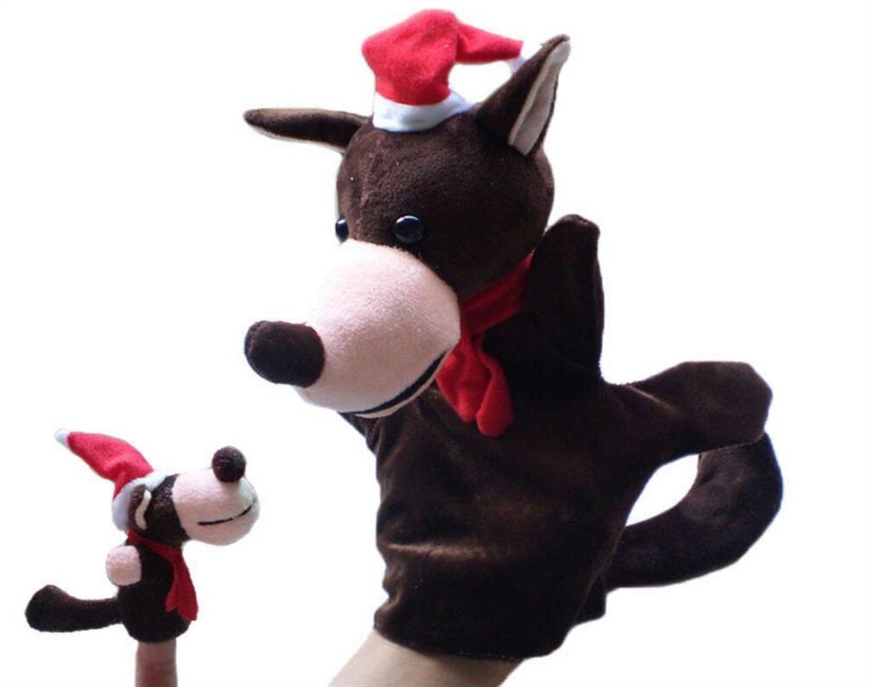 EoamIk Burattini Marionetta di Mano Genitore-Figlio Marionetta di Dito Animale di Natale (Grande Lupo)