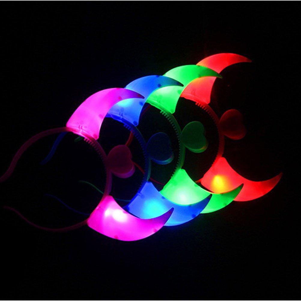 BESTOYARD Devil Horns Headband LED Light Up Flashing Headband Glowing Devil Horns LED Costume Headband Blue