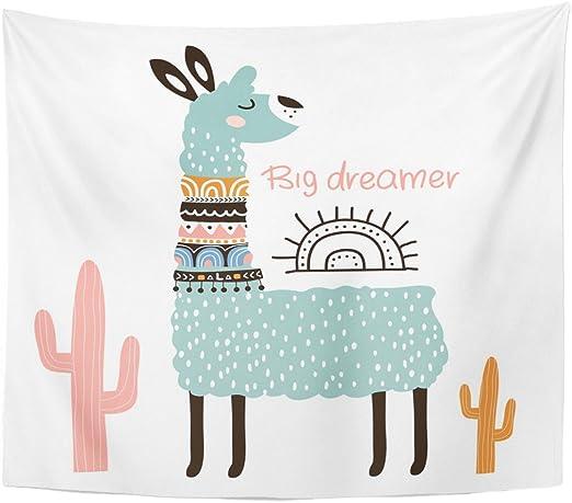 2 Tribal Llama Alpaca Cactus Prints Modern Kids Nursery Room Wall Art Picture