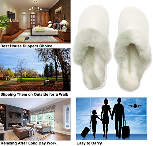 Fur Bedroom Women's White Slippers Indoor Outdoor House Faux Winter Men's Shoes Finoceans wqIETYH