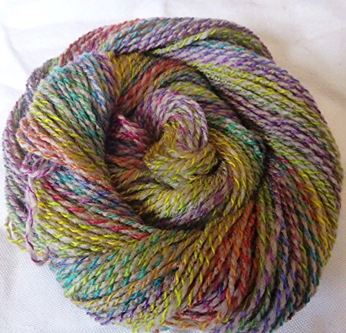 Taos Spring Light Gray twisted with multicolor tones sport weight knitting crochet yarn