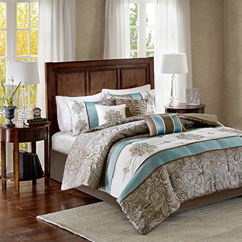 Madison Park Caroline King Size Bed Comforter Set Bed in A Bag - Blue, Taupe, Jacquard Paisley – 7 Pieces Bedding Sets – Faux Silk Bedroom Comforters