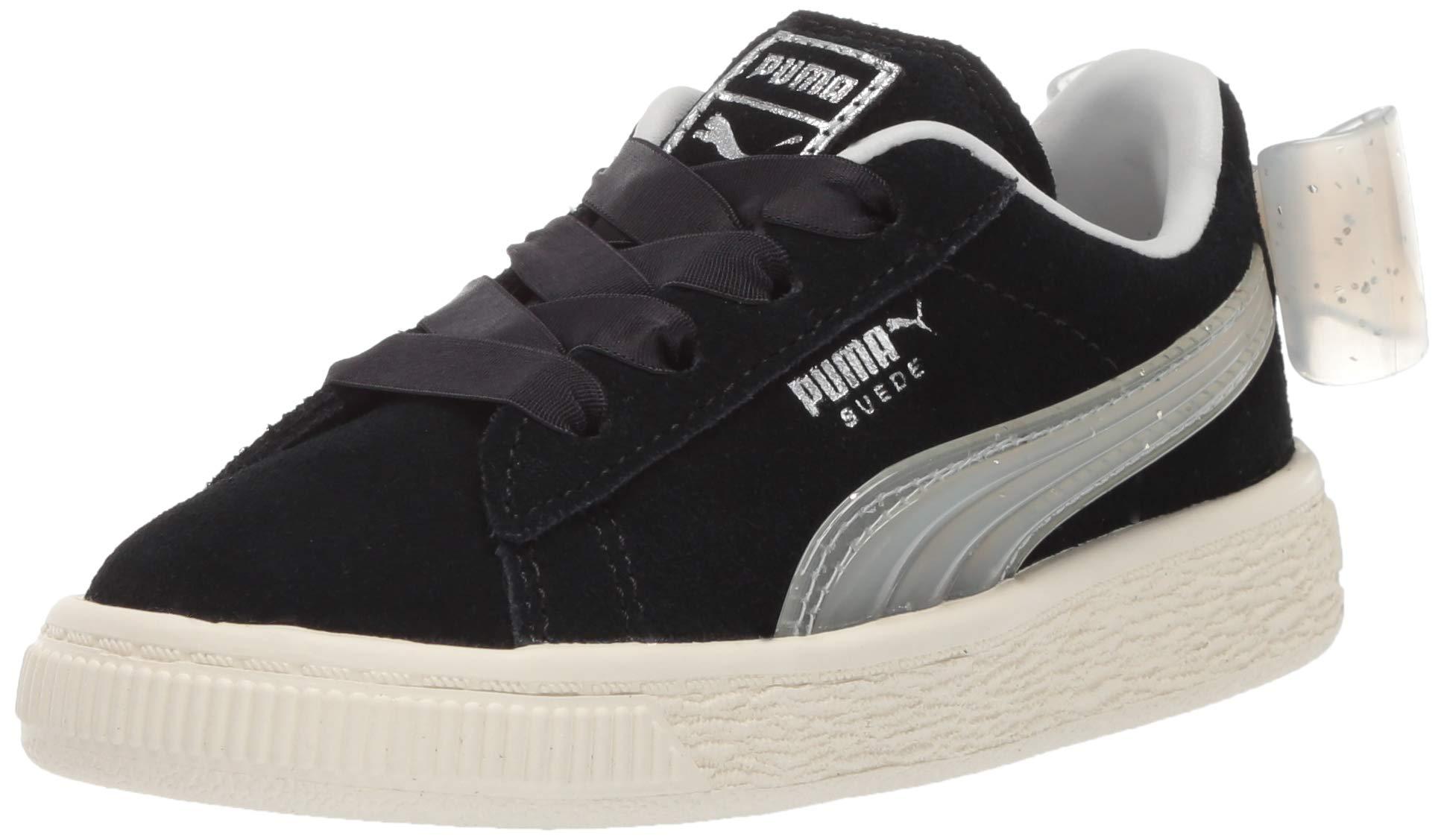 PUMA Girls' Suede Bow Jelly Sneaker, Black-Glacier Gray-Silver, 12 M US Little Kid