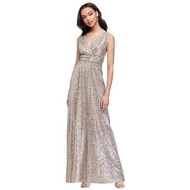 2802798920b David s Bridal Sequin V-Neck Bridesmaid Dress with Satin Piping Style  F19787