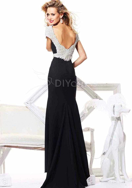 Amazon.com: Yup Dress Yup Dress Vogue Sheath Bateau neck Cap Sleeveless Beading Backless Prom Dresses Evening Dresses: Clothing