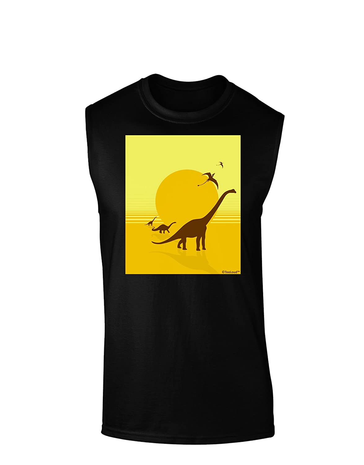 TooLoud Brontosaurus and Pterodactyl Silhouettes with Sun Dark Muscle Shirt