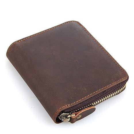 Carteras Vintagw de Cuero para Hombres con billeteras Minimalistas de Bolsillo con Cordones (Color :