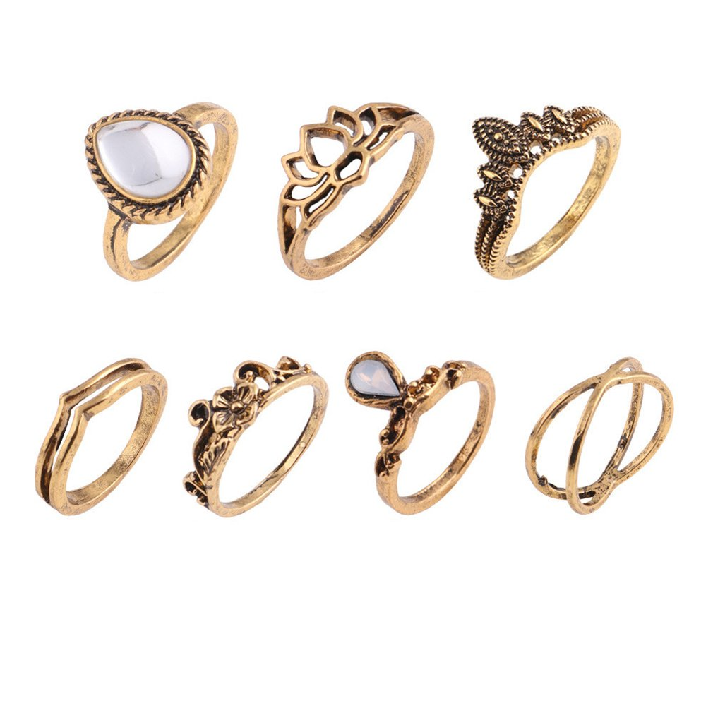 Yesiidor 7pcs Boho Midi Ring Set Big Water Drops Crystal Resin Hollow Lotus Flowers Crown Vintage Ring Set