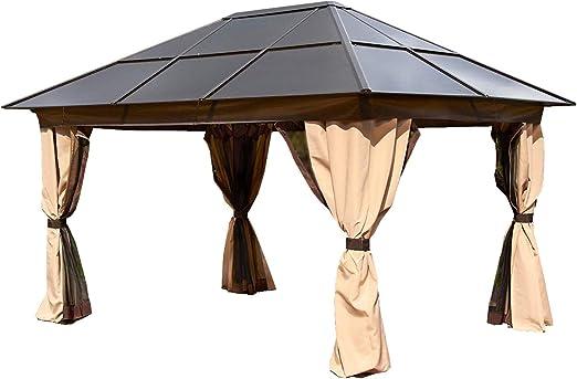 Gazebo de aluminio y policarbonato apto para todo tipo de clima. Dimensión: 3 x 4 m. Color bronce y beige.: Amazon.es: Jardín