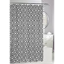 Moda At Home Inc 254623 Jager PEVA Waterproof Shower Curtain, 70-Inch X 72-Inch, Black and White