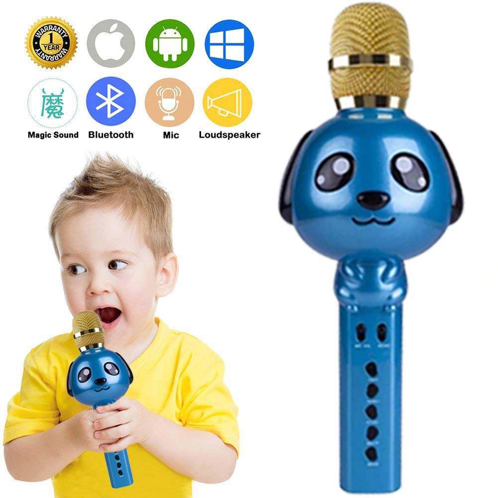 Wireless Karaoke Microphone for Kids Bluetooth Mic Portable Handheld Karaoke Machine for Kids Singing KTV Parties Boys Girls Parties Christmas or Birthday Gifts Toys iPhone Android PC (Blue) by Rhllxzo (Image #7)