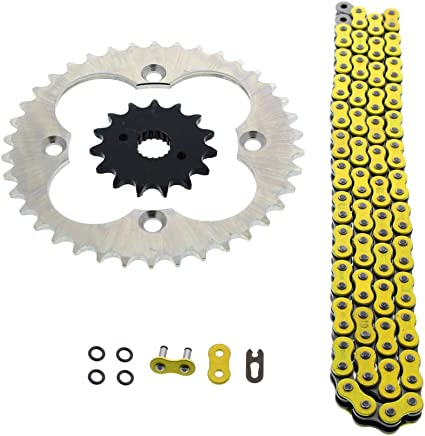 Cycle ATV – 94L amarillo O cadena de anillo y piñón de plata 15/38 para Honda 400EX TRX400EX TRX400 TRX 400 EX
