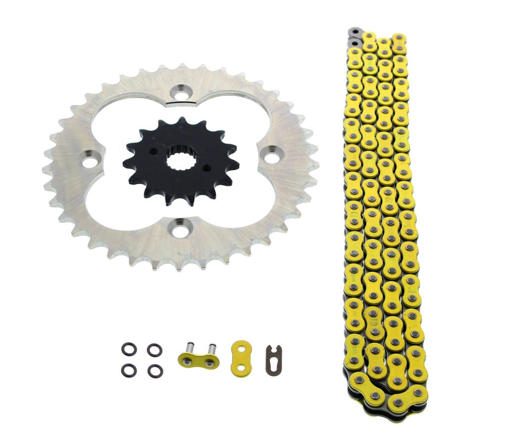1999-2004 Honda 400EX TRX400EX 94L Yellow O Ring Chain & Sprocket Silver 15/38 CycleATV