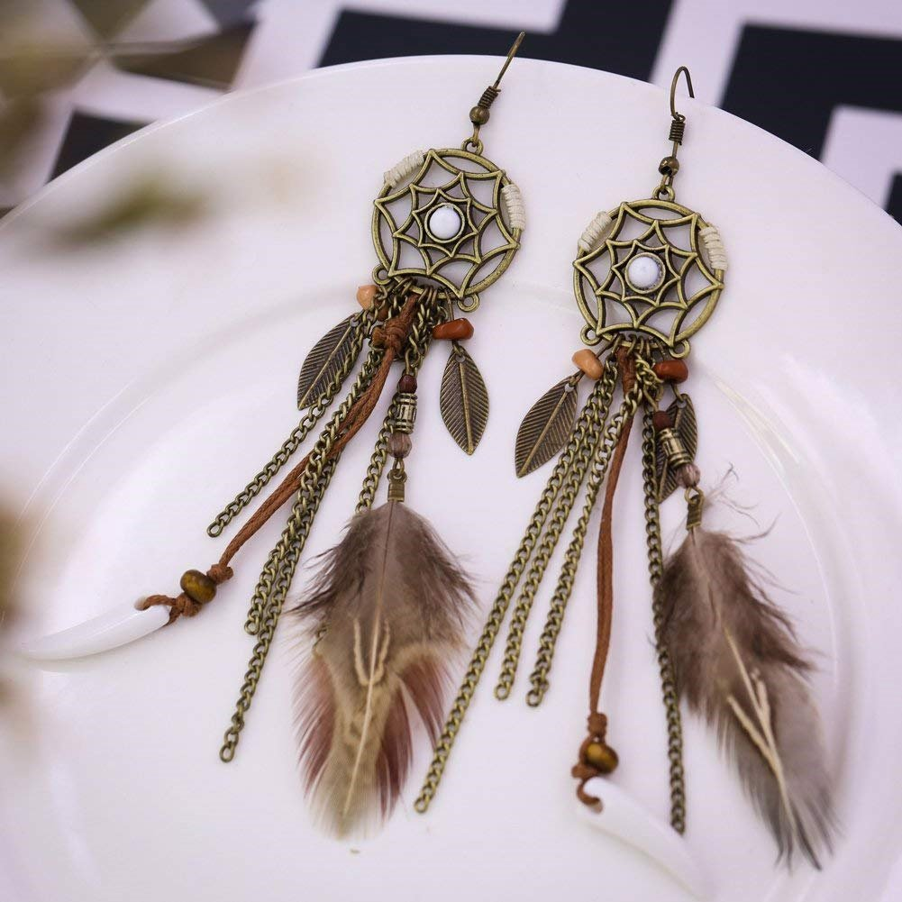 Dangle Earring Girls Vintage Retro Ethnic Bohemian Antique Tassel Feather Flower Leaf Brown