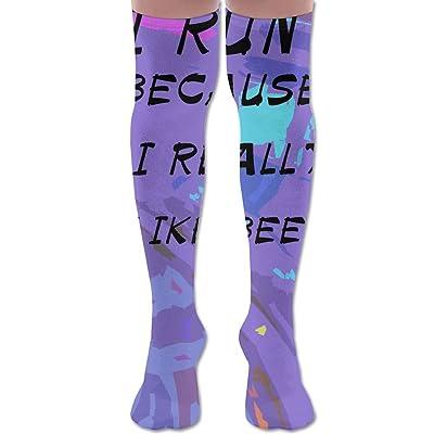 I Run Because I Really Like Beer Thigh High Football Soccer Socks Tube Sports Casual Long Socks