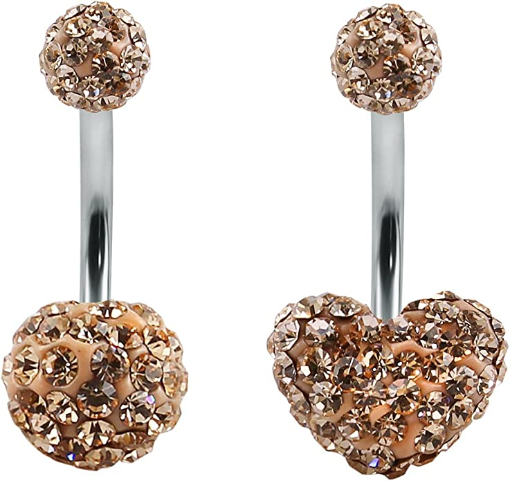Navel Belly Button Bar Ring Barbell Heart Rhinestone Crystal Ball Body Piercing