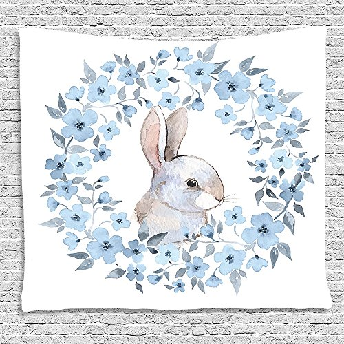 SCOCICI Supersoft Fleece Throw Blanket Watercolor Flower Decor Collection Bunny Rabbit Portrait in Floral Wreath Illustration Country Style Decor Blue White Cocoa 59 x 59 Inches