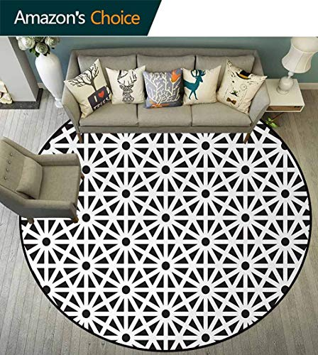 Arabesque Washable Creative Modern Round Rug,Authentic Moroccan Style Old Motif With Oriental Effects Middle Eastern Print Coffee Table Mat Non-Skid Living Room Carpet Diameter-47 Inch,Black White ()