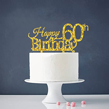 Amazoncom Happy 60th Birthday Cake Topper Gold 60th Birthday