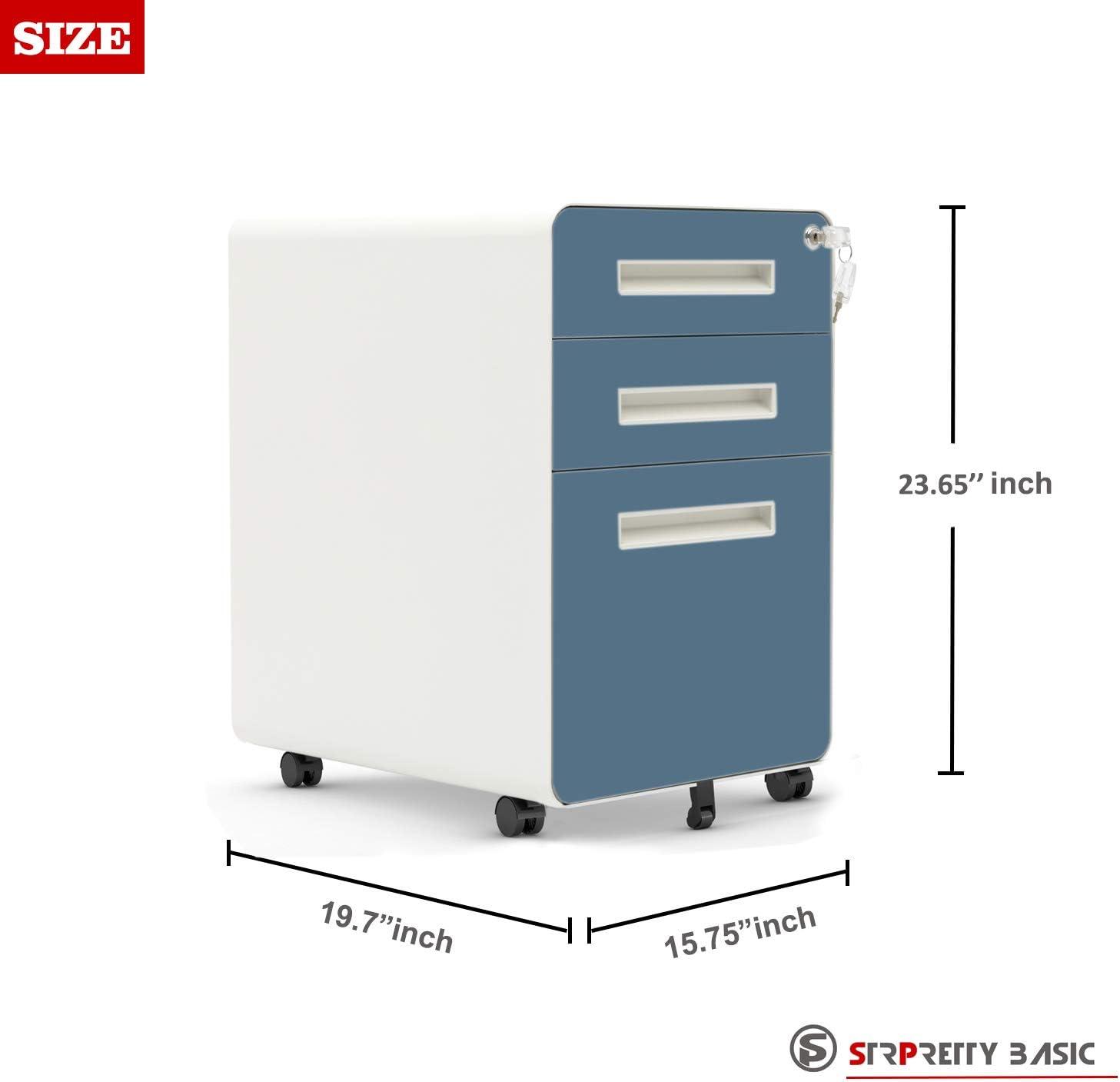 Blue/&White Legal//Letter Size STRPRETTY BASIC Vertical File Cabinet Locking File 3-Drawer Mobile File Cabinet with Anti-tilt Mechanism