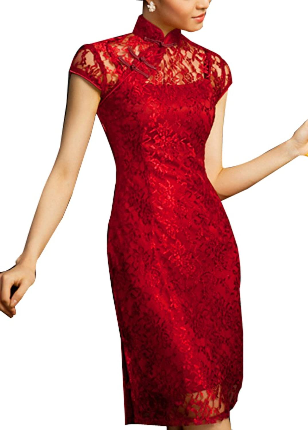 Amazon.com: Chinese Cheongsam Qipao Gown - Vintage Cocktail Dress ...