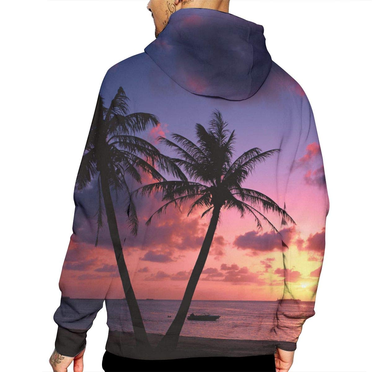 Beautiful Summer Sunset Palm Tree Graphic T-Shirt Hooded with A Pocket Rope Hat Customization Fashion Novelty 3D Mens