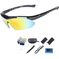 ShareWe Fietsbril met 5 verwisselbare lenzen, gepolariseerd, sport, voor mannen en vrouwen, fietsen, motorrijden, skiën…