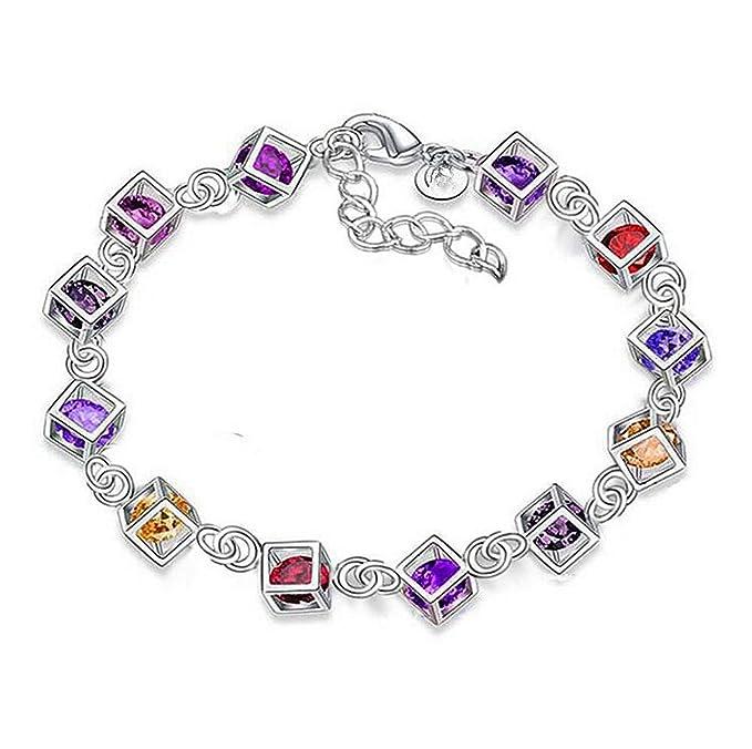 Cdet Pulsera de Diamantes de Colores Regalo de Joyas de Personalidad de Moda Ropa Exquisita Accesorios Mujer Vistoso