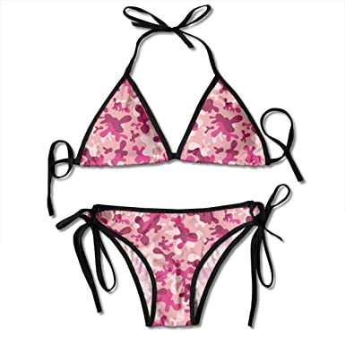 5d7b6a6ee1 Womens Bikini Swimsuit Set Pink Camo Camouflage Woodland Rosybrown  Beachwear Swimwear Bathing Suit